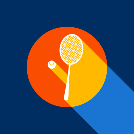 Tennis racket with ball sign. Vector. White icon on tangelo circle with infinite shadow of light at cool black background. Selective yellow and bright navy blue are produced. Ilustração