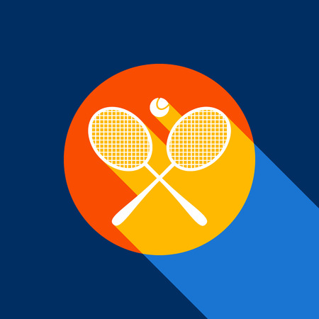 Two tennis racket with ball sign. Vector. White icon on tangelo circle with infinite shadow of light at cool black background. Selective yellow and bright navy blue are produced.