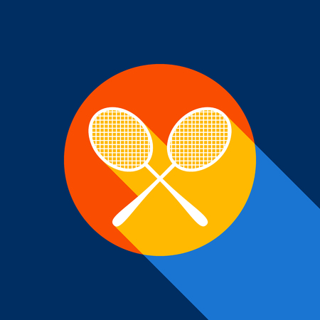 Two tennis racket sign. Vector. White icon on tangelo circle with infinite shadow of light at cool black background. Selective yellow and bright navy blue are produced. Illustration