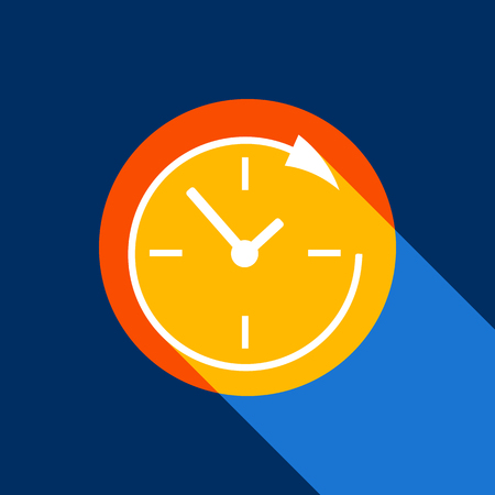 Service and support for customers around the clock and 24 hours. Vector. White icon on tangelo circle with infinite shadow of light at cool black background. Selective yellow and bright navy blue are produced. Vettoriali