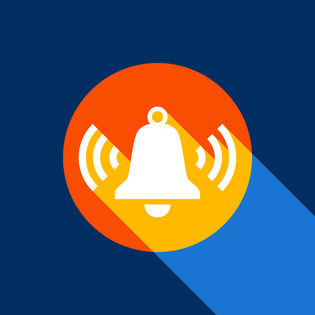 Ringing bell icon. Vector. White icon on tangelo circle with infinite shadow of light at cool black background. Selective yellow and bright navy blue are produced. Illustration
