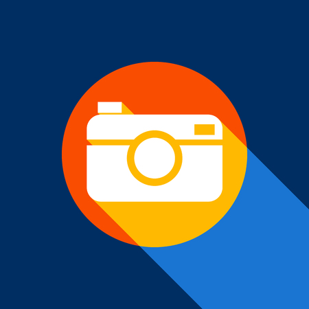 Digital photo camera sign. Vector. White icon on tangelo circle with infinite shadow of light at cool black background. Selective yellow and bright navy blue are produced.