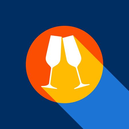 Sparkling champagne glasses. Vector. White icon on tangelo circle with infinite shadow of light at cool black background. Selective yellow and bright navy blue are produced.