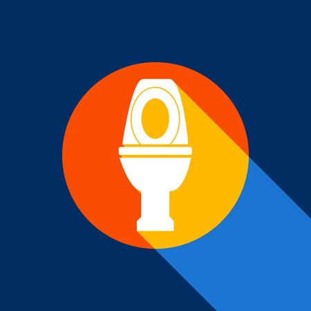 rom: Toilet sign illustration. Vector. White icon on tangelo circle with infinite shadow of light at cool black background. Selective yellow and bright navy blue are produced.
