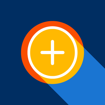 Positive symbol plus sign. Vector. White icon on tangelo circle with infinite shadow of light at cool black background. Selective yellow and bright navy blue are produced.