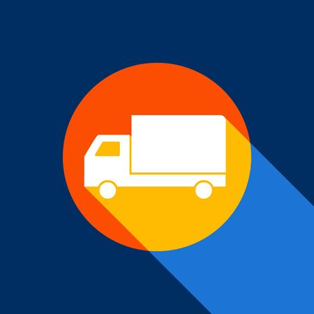 Delivery sign illustration. Vector. White icon on tangelo circle with infinite shadow of light at cool black background. Selective yellow and bright navy blue are produced.
