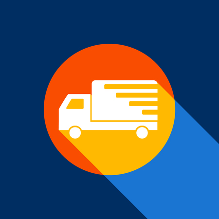 semitruck: Delivery sign illustration. Vector. White icon on tangelo circle with infinite shadow of light at cool black background. Selective yellow and bright navy blue are produced.