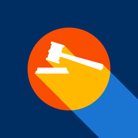 Justice hammer sign. Vector. White icon on tangelo circle with infinite shadow of light at cool black background. Selective yellow and bright navy blue are produced.