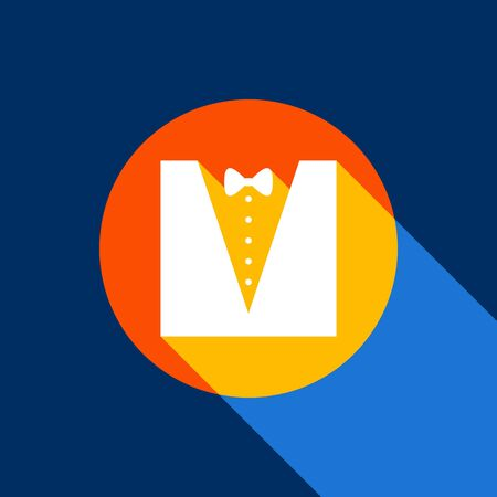Tuxedo with bow silhouette. Vector. White icon on tangelo circle with infinite shadow of light at cool black background. Selective yellow and bright navy blue are produced. Illustration