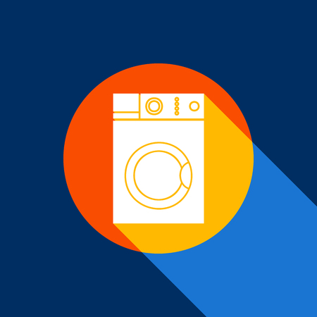 Washing machine sign. Vector. White icon on tangelo circle with infinite shadow of light at cool black background. Selective yellow and bright navy blue are produced. Illustration