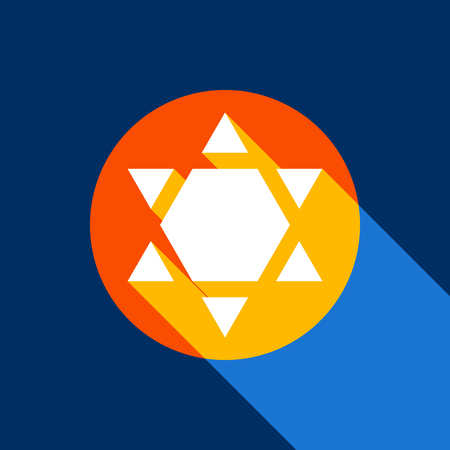 Star of David Inverse. Symbol of Israel inverted. Vector. White icon on tangelo circle with infinite shadow of light at cool black background. Selective yellow and bright navy blue are produced. Illustration