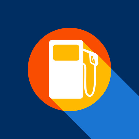Gas pump sign. Vector. White icon on tangelo circle with infinite shadow of light at cool black background. Selective yellow and bright navy blue are produced.