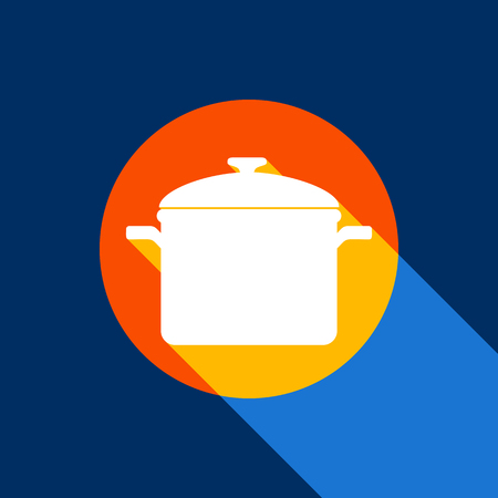 Cooking pan sign. Vector. White icon on tangelo circle with infinite shadow of light at cool black background. Selective yellow and bright navy blue are produced. Иллюстрация