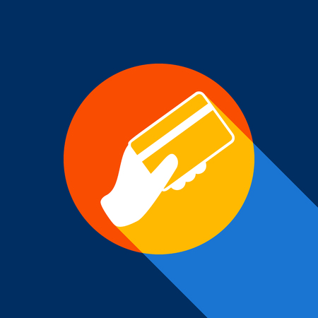 Hand holding a credit card. Vector. White icon on tangelo circle with infinite shadow of light at cool black background. Selective yellow and bright navy blue are produced. Illustration