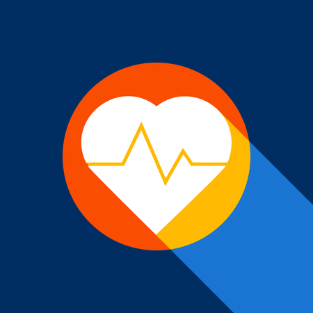 Heartbeat sign illustration. Vector. White icon on tangelo circle with infinite shadow of light at cool black background. Selective yellow and bright navy blue are produced. Illustration