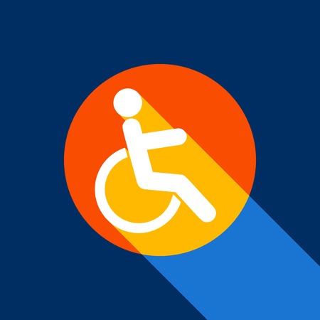Disabled sign illustration. Vector. White icon on tangelo circle with infinite shadow of light at cool black background. Selective yellow and bright navy blue are produced. Illustration