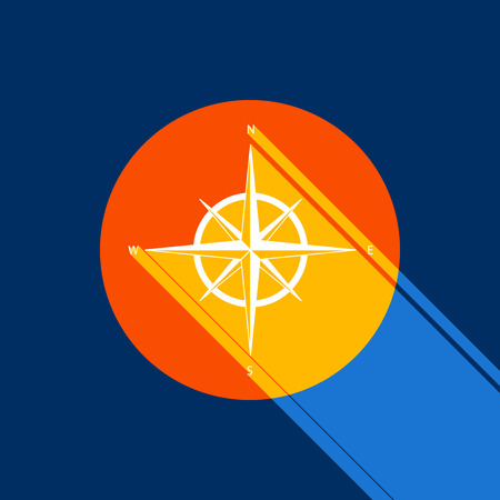 navigational light: Wind rose sign. Vector. White icon on tangelo circle with infinite shadow of light at cool black background. Selective yellow and bright navy blue are produced. Illustration