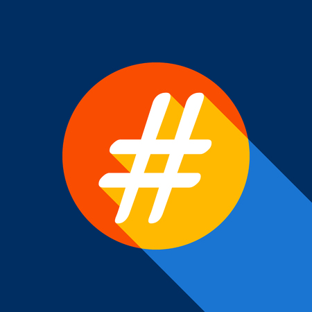 Hashtag sign illustration. Vector. White icon on tangelo circle with infinite shadow of light at cool black background. Selective yellow and bright navy blue are produced.