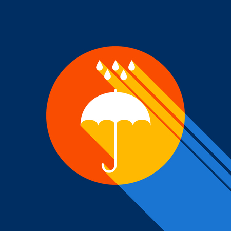 Umbrella with water drops. Rain protection symbol. Flat design style. Vector. White icon on tangelo circle with infinite shadow of light at cool black background. Selective yellow and bright navy blue are produced.