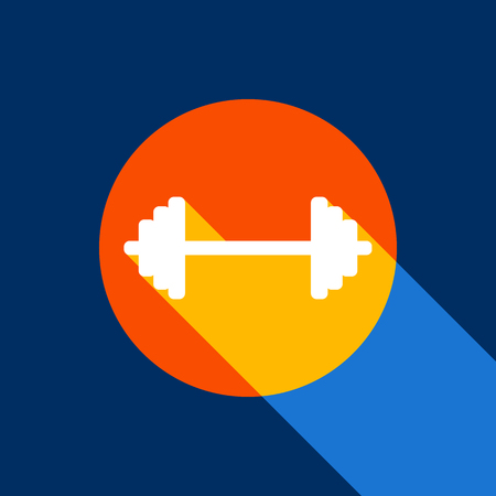 Dumbbell weights sign. Vector. White icon on tangelo circle with infinite shadow of light at cool black background. Selective yellow and bright navy blue are produced. Illustration