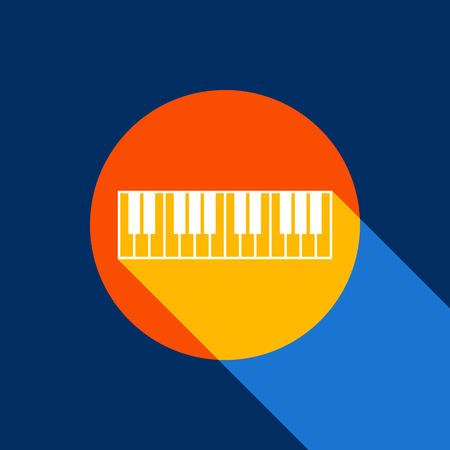 Piano Keyboard sign. Vector. White icon on tangelo circle with infinite shadow of light at cool black background. Selective yellow and bright navy blue are produced.  イラスト・ベクター素材