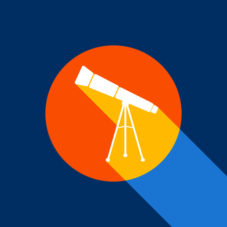 Telescope simple sign. Vector. White icon on tangelo circle with infinite shadow of light at cool black background. Selective yellow and bright navy blue are produced.