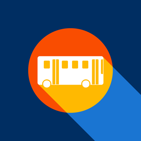 Bus simple sign. Vector. White icon on tangelo circle with infinite shadow of light at cool black background. Selective yellow and bright navy blue are produced.