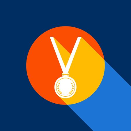 Medal simple sign. Vector. White icon on tangelo circle with infinite shadow of light at cool black background. Selective yellow and bright navy blue are produced. Illustration