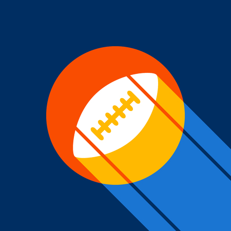American simple football ball. Vector. White icon on tangelo circle with infinite shadow of light at cool black background. Selective yellow and bright navy blue are produced.