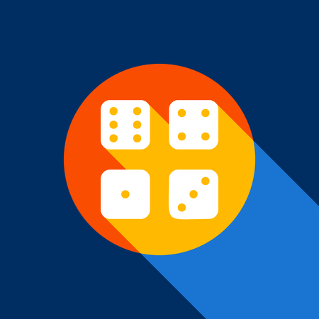 Dice sign. Vector. White icon on tangelo circle with infinite shadow of light at cool black background. Selective yellow and bright navy blue are produced.