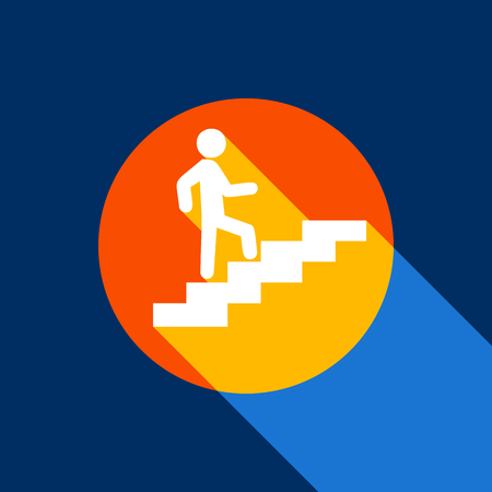 Man on Stairs going up. Vector. White icon on tangelo circle with infinite shadow of light at cool black background. Selective yellow and bright navy blue are produced.