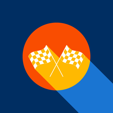 Crossed checkered flags waving in the wind conceptual of motor sport. Vector. White icon on tangelo circle with infinite shadow of light at cool black background. Selective yellow and bright navy blue are produced. Illustration