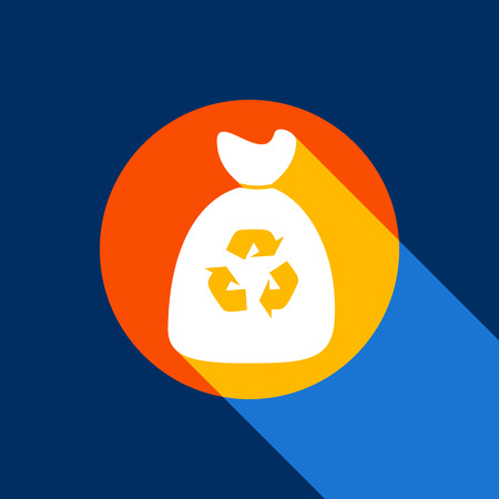 Trash bag icon. Vector. White icon on tangelo circle with infinite shadow of light at cool black background. Selective yellow and bright navy blue are produced.