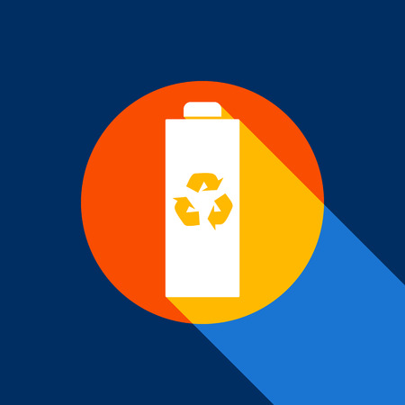 Battery recycle sign illustration. Vector. White icon on tangelo circle with infinite shadow of light at cool black background. Selective yellow and bright navy blue are produced. Illustration