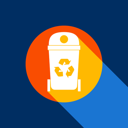 Trashcan sign illustration. Vector. White icon on tangelo circle with infinite shadow of light at cool black background. Selective yellow and bright navy blue are produced.