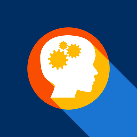 black man thinking: Thinking head sign. Vector. White icon on tangelo circle with infinite shadow of light at cool black background. Selective yellow and bright navy blue are produced.