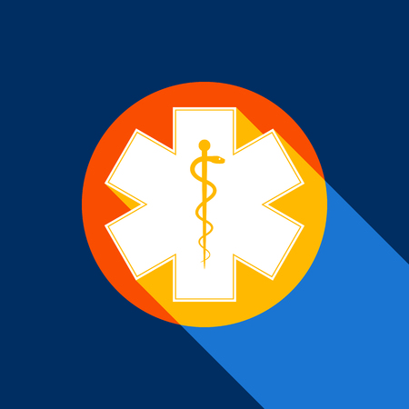 Medical symbol of the Emergency or Star of Life with border. Vector. White icon on tangelo circle with infinite shadow of light at cool black background. Selective yellow and bright navy blue are produced.