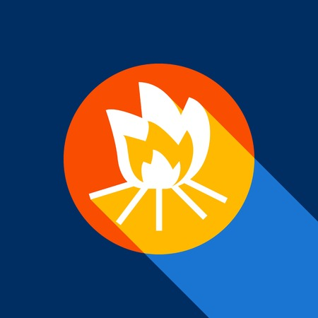Fire sign. Vector. White icon on tangelo circle with infinite shadow of light at cool black background. Selective yellow and bright navy blue are produced.