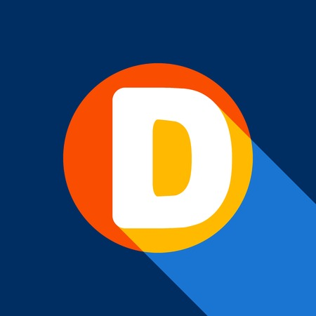 d mark: Letter D sign design template element. Vector. White icon on tangelo circle with infinite shadow of light at cool black background. Selective yellow and bright navy blue are produced. Illustration