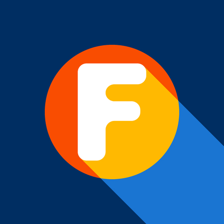 Letter F sign design template element. Vector. White icon on tangelo circle with infinite shadow of light at cool black background. Selective yellow and bright navy blue are produced. Illusztráció
