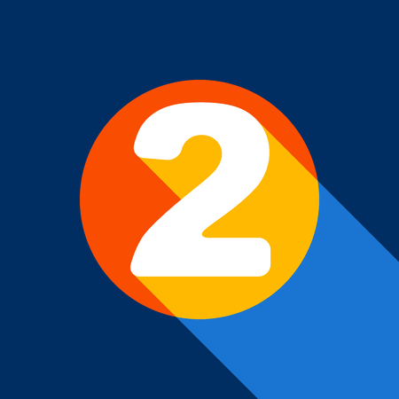 Number 2 sign design template elements. Vector. White icon on tangelo circle with infinite shadow of light at cool black background. Selective yellow and bright navy blue are produced.