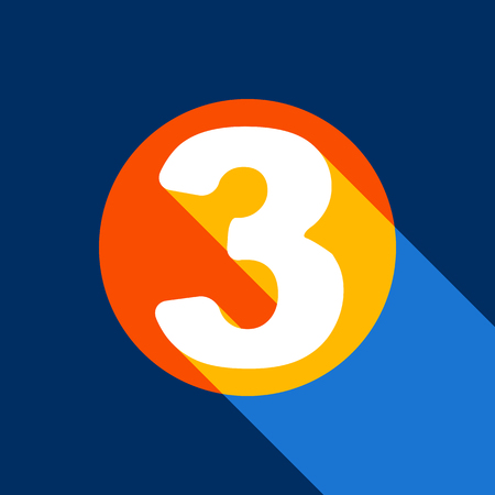 Number 3 sign design template element. Vector. White icon on tangelo circle with infinite shadow of light at cool black background. Selective yellow and bright navy blue are produced.