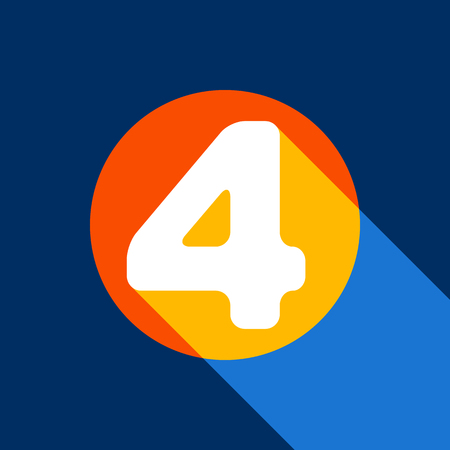 Number 4 sign design template element. Vector. White icon on tangelo circle with infinite shadow of light at cool black background. Selective yellow and bright navy blue are produced. Illustration