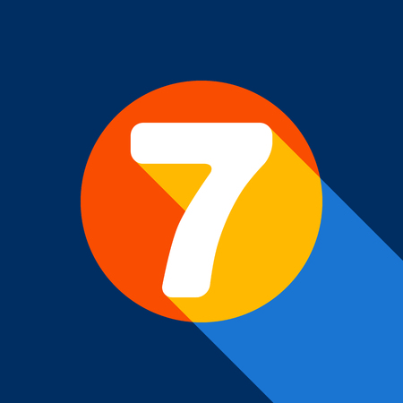 divisions: Number 7 sign design template element. Vector. White icon on tangelo circle with infinite shadow of light at cool black background. Selective yellow and bright navy blue are produced. Illustration
