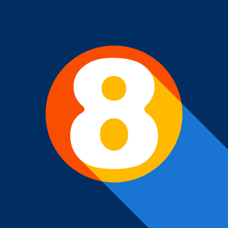 Number 8 sign design template element. Vector. White icon on tangelo circle with infinite shadow of light at cool black background. Selective yellow and bright navy blue are produced.