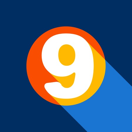 Number 9 sign design template element. Vector. White icon on tangelo circle with infinite shadow of light at cool black background. Selective yellow and bright navy blue are produced.