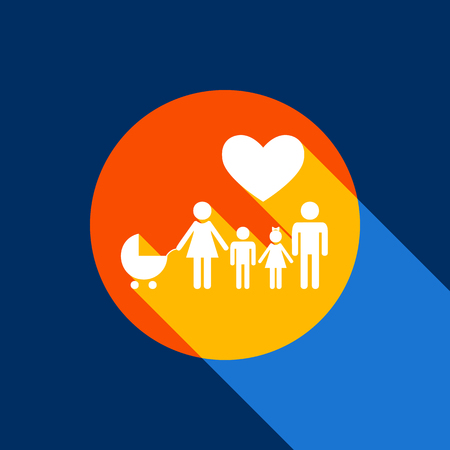 Family sign with heart. Husband and wife are kept children's hands. Vector. White icon on tangelo circle with infinite shadow of light at cool black background. Selective yellow and bright navy blue are produced.