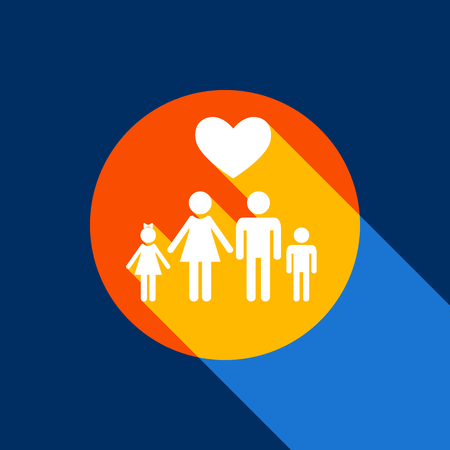 Family symbol with heart. Husband and wife are kept children's hands. Love. Vector. White icon on tangelo circle with infinite shadow of light at cool black background. Selective yellow and bright navy blue are produced. Illusztráció