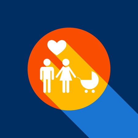 Family symbol with pram and heart. Husband and wife are kept each others hands. Love. Vector. White icon on tangelo circle with infinite shadow of light at cool black background. Selective yellow and bright navy blue are produced. Иллюстрация