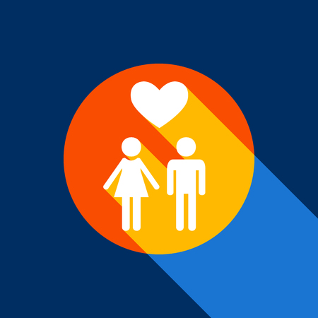 Family symbol with heart. Husband and wife are kept each others hands. Love. Vector. White icon on tangelo circle with infinite shadow of light at cool black background. Selective yellow and bright navy blue are produced.